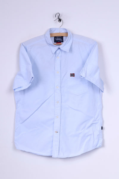 Reserved Sailing Mens S Casual Shirt Light Blue Short Sleeve Cotton Regular Top