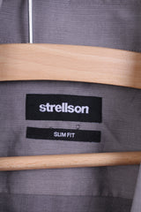 Strellson Mens 38 15 M Casual Shirt Grey Cotton Slim Fit Standard Collar