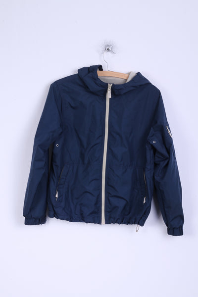 Eddie Bauer Boys M Jacket Navy Hooded Outdoor Zip Up Lighweight Top