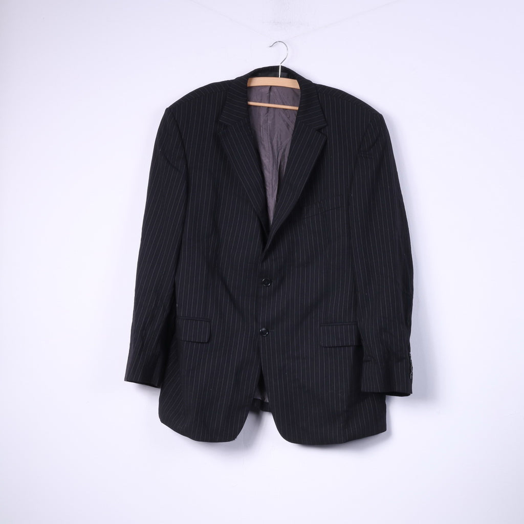 Marks & Spencer Mens 44 M Blazer Tailoring Lightweight Single Breasted Wool Black Striped