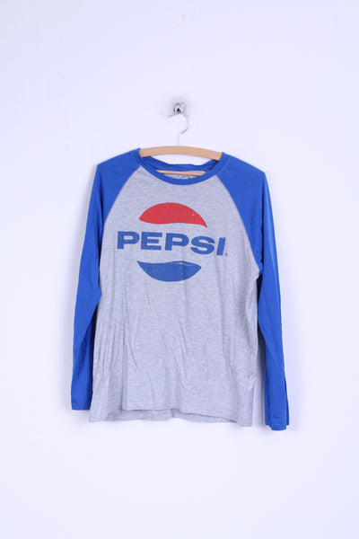 Pepsi Womens L Shirt Cotton Grey Blue Long Sleeve Graphic Stretch Top
