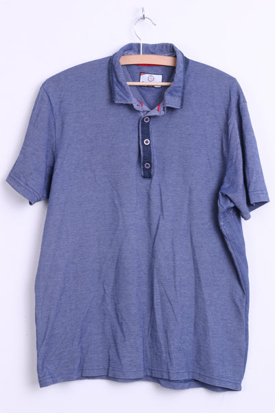 Dynamic Mens XXL Polo Shirt Jeans Color Washed Look Cotton Top - RetrospectClothes