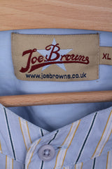 Joe Browns Mens XL Casual Shirt Stand-up Collar Blue Striped Cotton