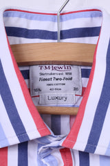 TM Lewin Mens L 16.5 36 Casual Shirt Striped Luxury White Top Cotton Cufflinks