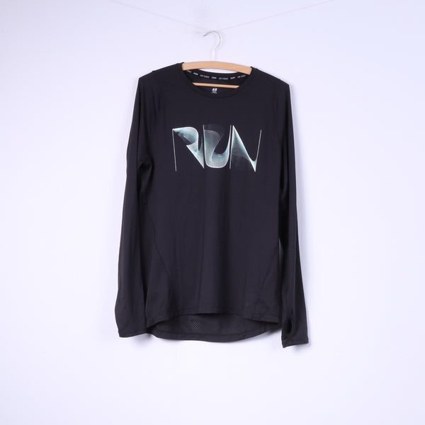 H&M Sport Running Mens M Shirt Long Sleeve Black Sportswear Top