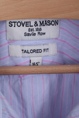 STOVEL&MASON Mens 16.5 XL Casual Shirt Blue Striped Cotton Tailored Fit