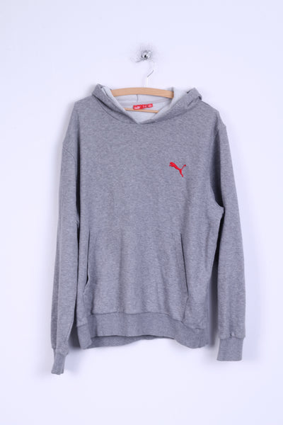 Puma Mens L Sweatshirt Grey Cotton Hooded Kangaroo Pocket Hoodie