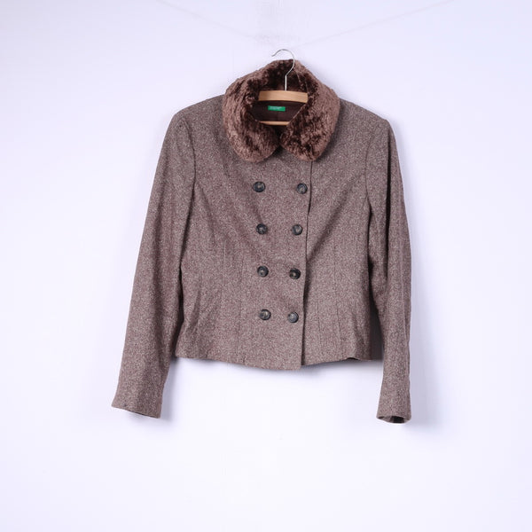 United Colors Of Benetton Womens 44 M Jacket Brown Wool Fur Collar Double Breasted Blazer