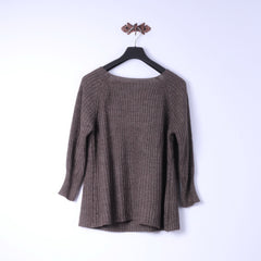Womens S Jumper Brown Wool Mohair Blend Peace 2/3 Sleeve Knitwear Top Made in Italy