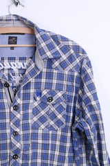 Lion Vanguard Mens XXL Casual Shirt Check Blue Cotton Top Genuine Quality - RetrospectClothes
