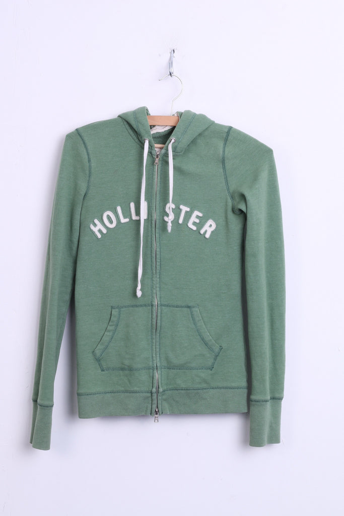 Hollister California Womens S Sweatshirt Hood Green Cotton Jumper - RetrospectClothes