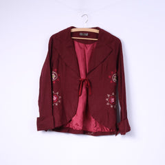 Bohemia Womens S Blazer Maroon Embroidered Jacket Top