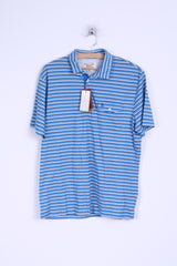 New Penguin Mens L Polo Shirt Cotton Blue Striped Heritage Slim Fit Stretch