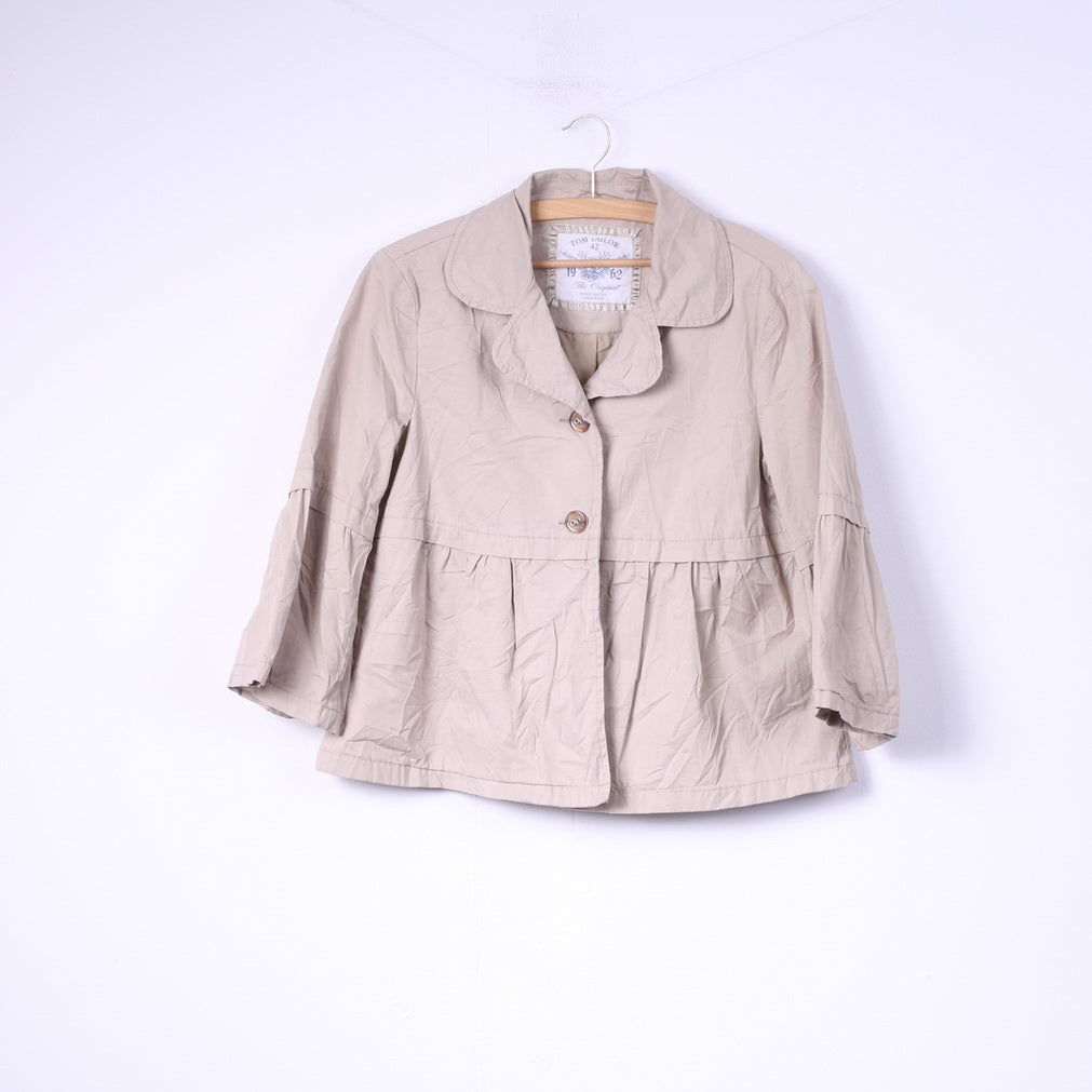 Tom Tailor Womens 42 XL Blazer Trapeze Beige Cotton Single Breasted Jacket Top