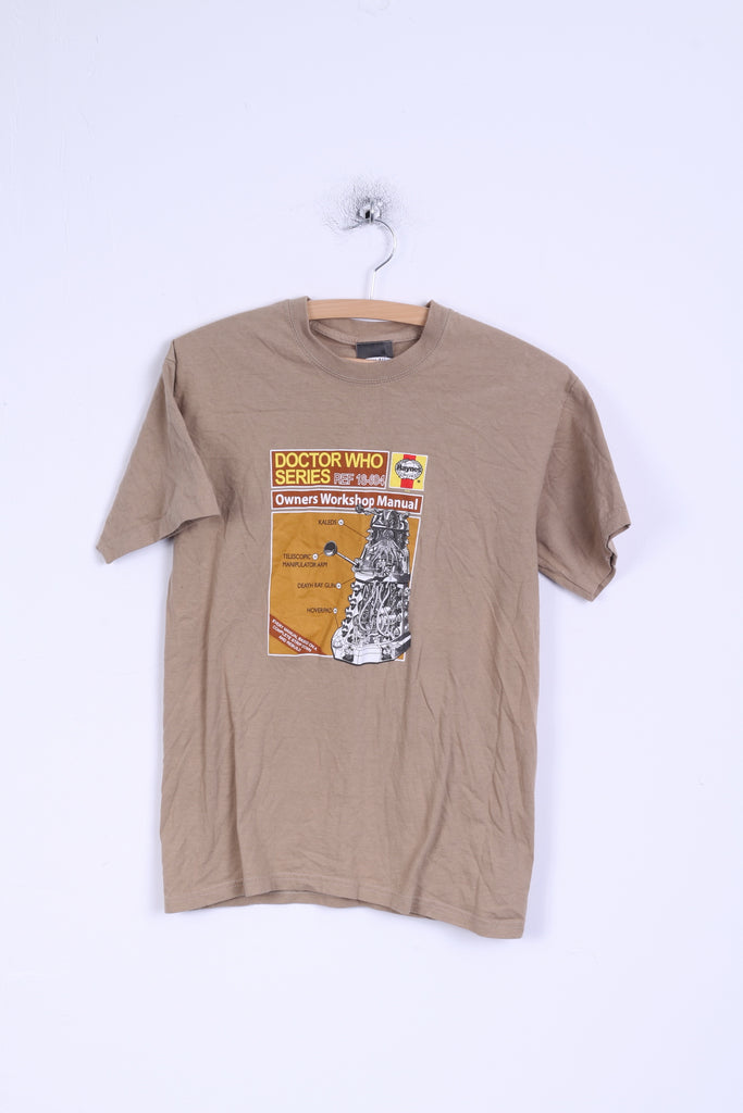 Fruit Of The Loom Mens S T-Shirt Brown Doctor Who Graphic Cotton