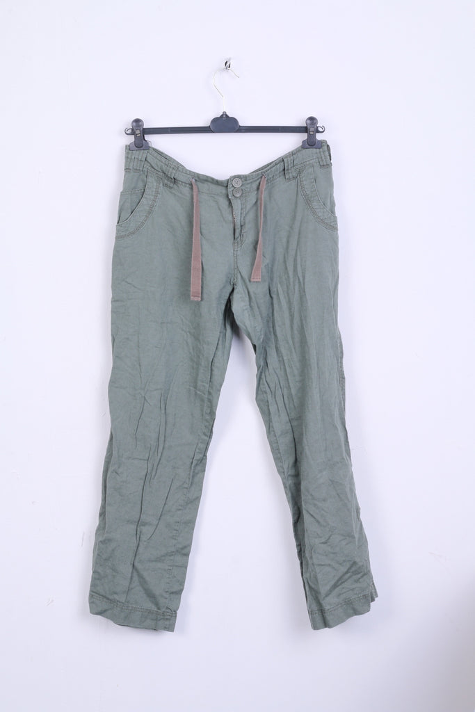 New Look Womens 14 42 L Trousers Green Pants Linen
