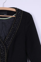 Next Womens 38 M Jacket Black Wool Blend Ornaments Gold Thread 3/4 Sleeve