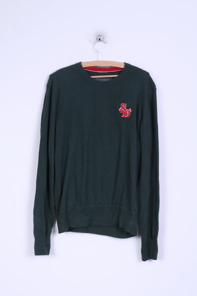 Superdry Mens M Jumper Green Cotton Japan Sweater Crew Neck