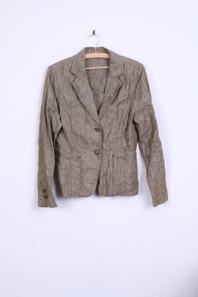 C&A Womens 12 M Jacket Linen Khaki Light Top Yessica Single Breasted Blazer