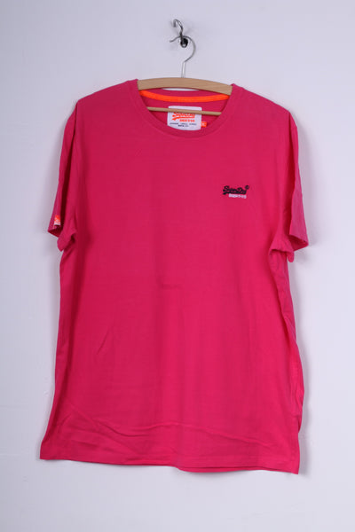 Superdry Mens 2XL (XL) T- Shirt Pink Cotton Orange Label Logo Top