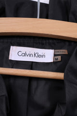 Calvin Klein Womens M Blouse Flounce Black Shiny Button Front Nylon