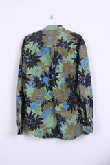 ALIS Mens XL Casual Shirt Button Down Collar Flowers Print Cotton
