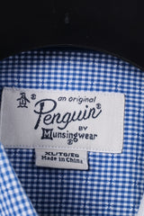 Penguin Mens XL Casual Shirt Mini Check Blue Cotton Heritage Slim Fit Top