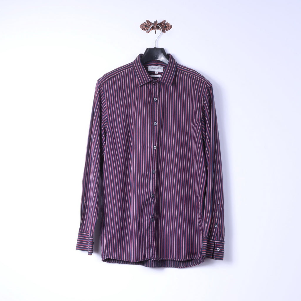 Austin Reed Signature Mens Xl L Casual Shirt Purple Striped Cotton I Retrospectclothes