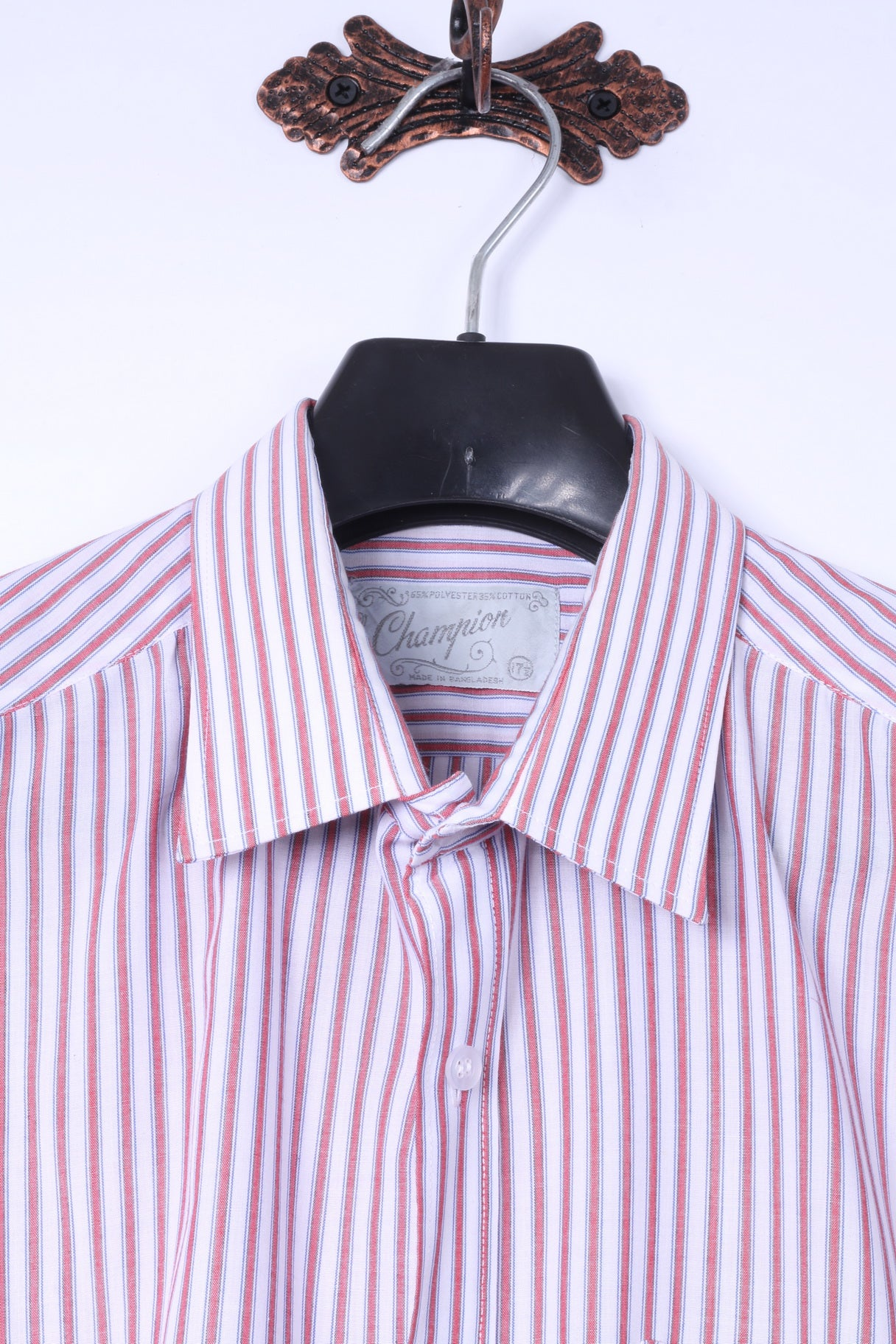 8ecc5f6d ... Champion Mens 17.5 XL Casual Shirt White Red Striped Soft Retro Long  Sleeve Top ...