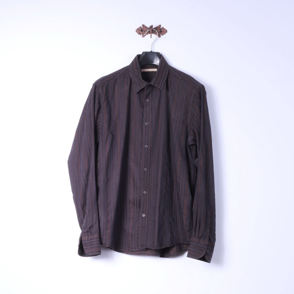 Ted Baker Mens 5 L Casual Shirt Brown Cotton Striped Cotton Long Sleeve Top