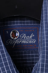 Peak Performance Mens S Casual Shirt Blue Cotton Check Nature Long Sleeve Top
