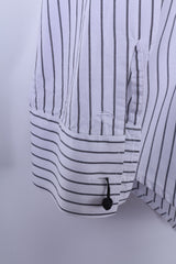 Tom Tailor Mens XL Casual Shirt White Cotton Silver Striped Long Sleeve Regular Fit