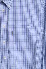 Barbour Mens L Casual Shirt Blue Cotton Long Sleeve Checkered Button Down Collar