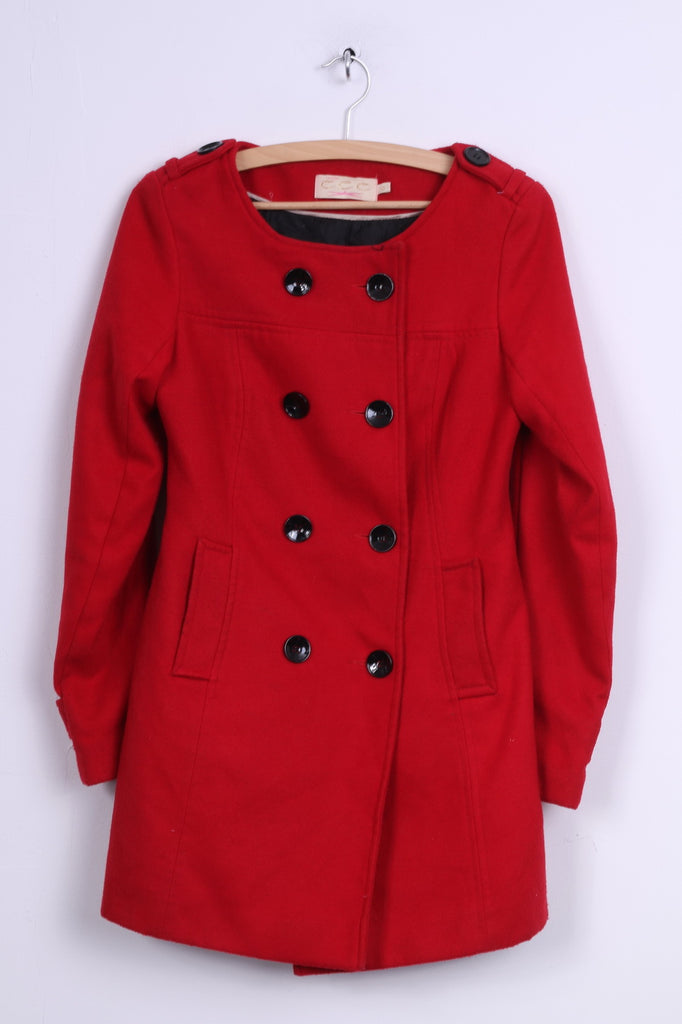 EEE London Womens 10 36 Coat Red Double Breasted