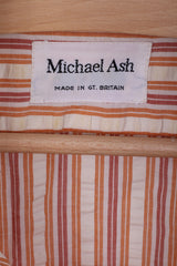 Michael Ash Mens 16 Casual Shirt Striped Orange Cotton Long Sleeve
