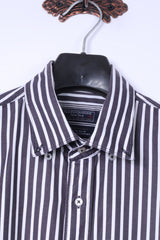 Claudio Campione Mens XL Casual Shirt Black White Stripe Exclusixe Wear Cotton Top