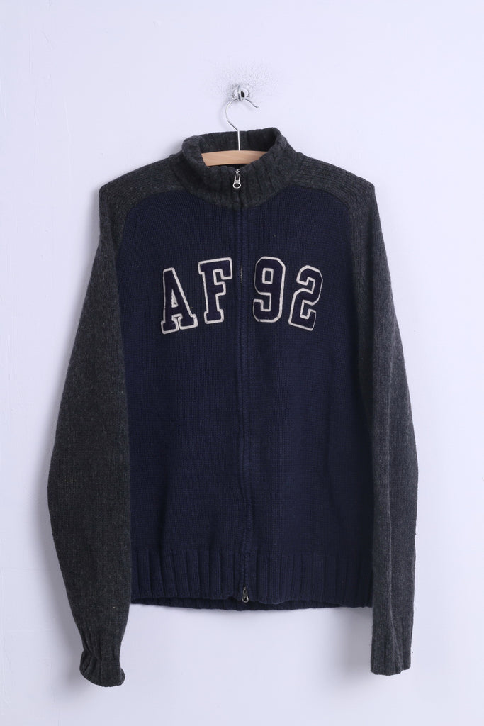 bb0c4a56 Abercrombie & Fitch Mens XL Sweater Navy Zip Up Muscle Lambswool AF 92 –  RetrospectClothes
