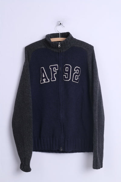 Abercrombie & Fitch Mens XL Sweater Navy Zip Up Muscle Lambswool AF 92