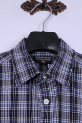Polo Jeans Co Ralph Lauren Mens M Casual Shirt Navy Checkered Cotton Detailed Buttons Top