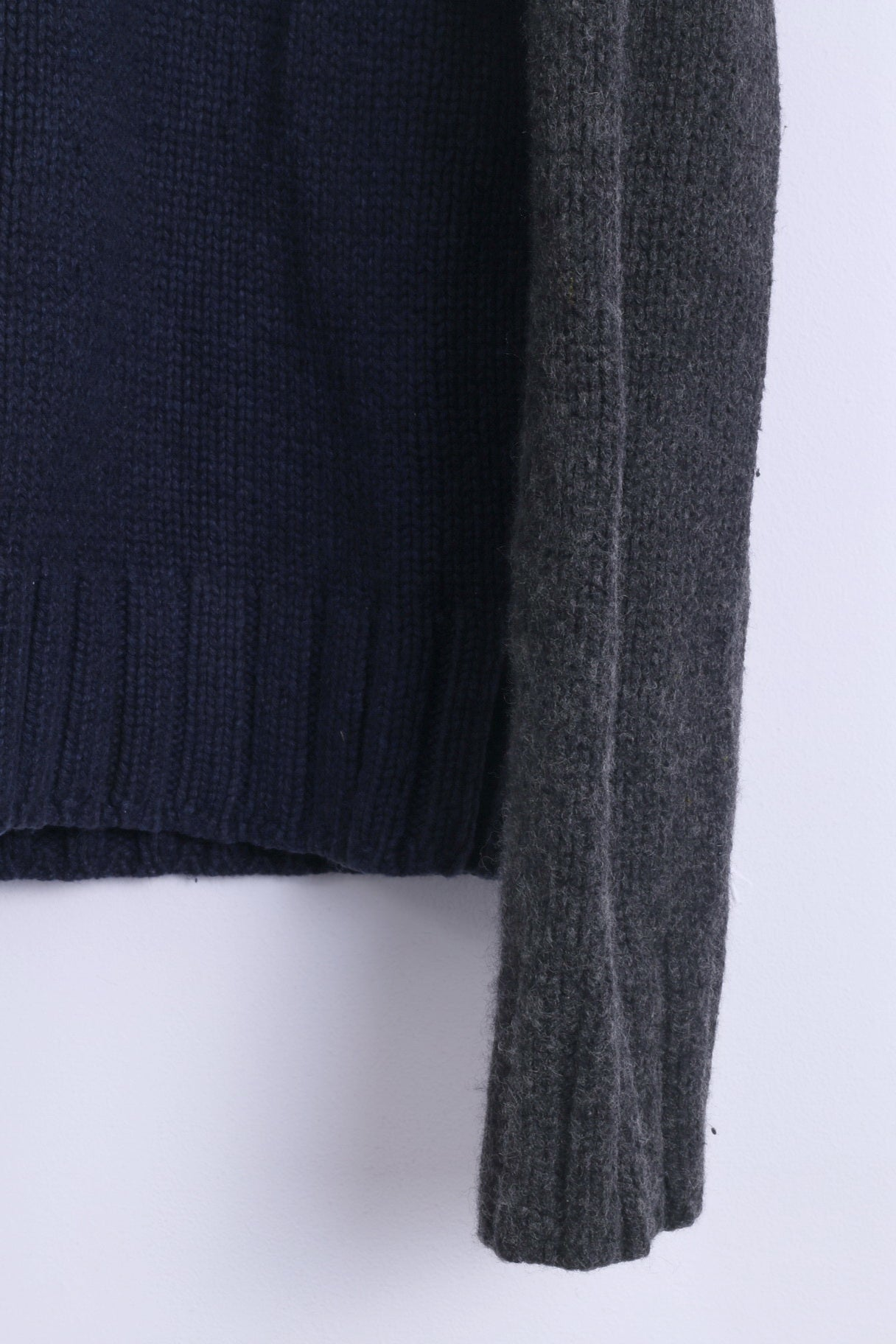 fa3f8ae4 ... 92; Abercrombie & Fitch Mens XL Sweater Navy Zip Up Muscle Lambswool AF  ...