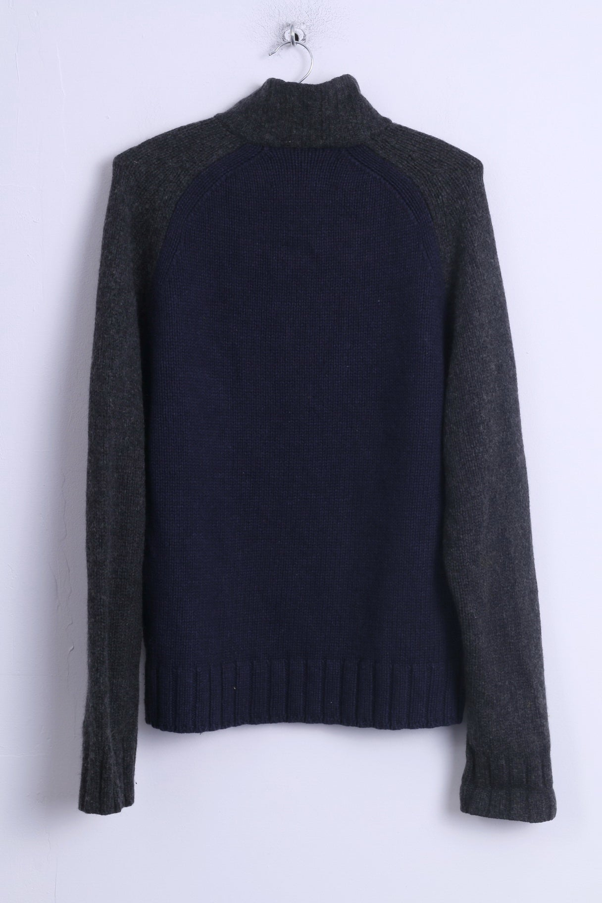ebe278f7 ... Abercrombie & Fitch Mens XL Sweater Navy Zip Up Muscle Lambswool AF 92