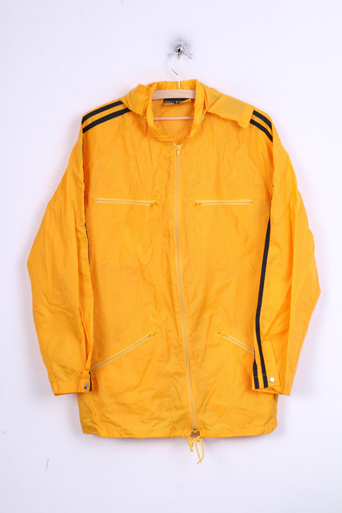 Mens M Jacket Yellow Sport Waterproof Hood Nylon Rain Jacket