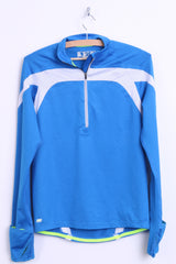 New Balance Mens XS Jogging Shirt Sport Zip Neck Blue Long Sleeve - RetrospectClothes