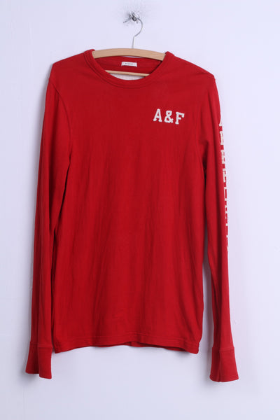 Abercrombie & Fitch Mens M (S) Long Sleeved Shirt Red Cotton Crew Neck A&F