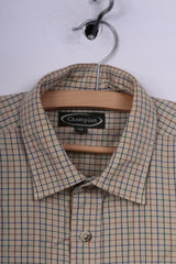 Champion Mens M Casual Shirt Beige Check Long Sleeve Cotton Outdoor