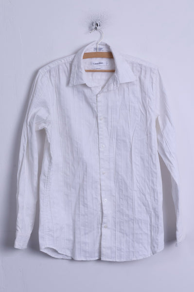 Calvin Klein Mens S Casual Shirt White Modern Fit Cotton Long Sleeve Striped