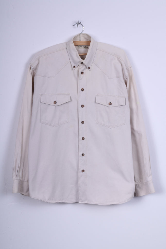 John F.Gee Jeanswear Mens 41/42 XL Casual Shirt Jeans Beige Detailed Buttons