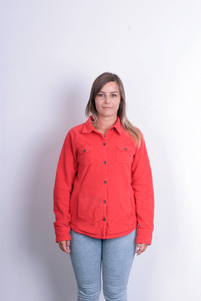 Lands'End Womens M Fleece Jacket Orange Buttons Down - RetrospectClothes