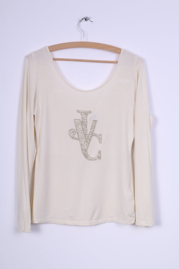 Versace Jeans Couture Womens M Shirt Cream Stretchy Big Necline
