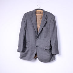 Racing Green Mens 52 Blazer Grey Check Single Breasted Shoulder Pads Top